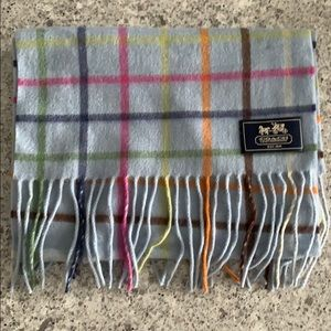 Coach Tattersall Cashmere Scarf in Legacy Blue